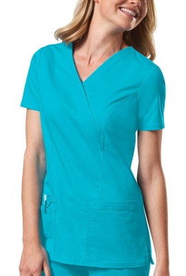 Halat medical Mock Wrap in Turquoise
