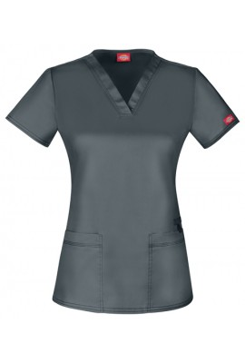 Halat medical V-Neck cambrat in Pewter