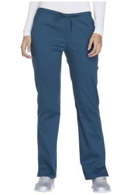 Pantaloni medicali cu talie medie drepti Carribean Blue