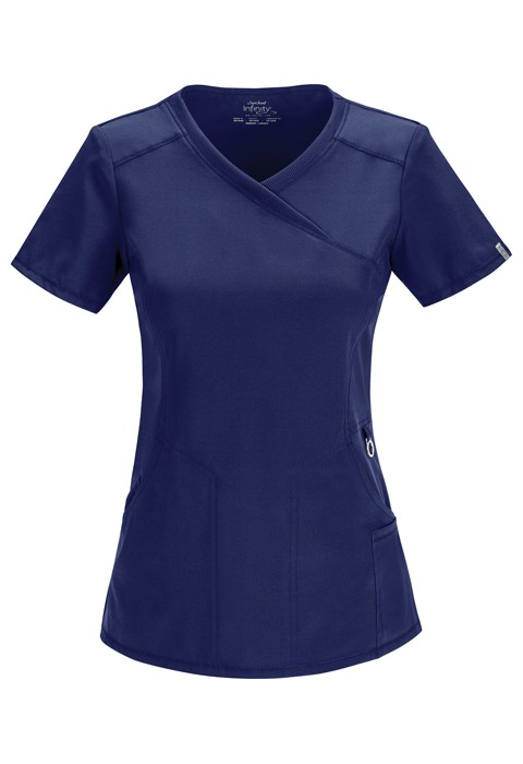 Halat medical antimicrobian Mock Wrap Navy