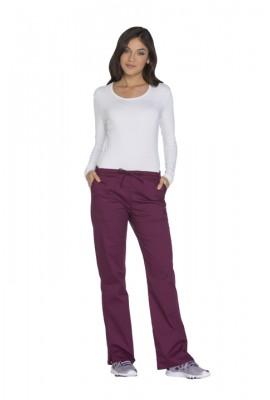 Pantaloni medicali cu talie medie drepti Wine