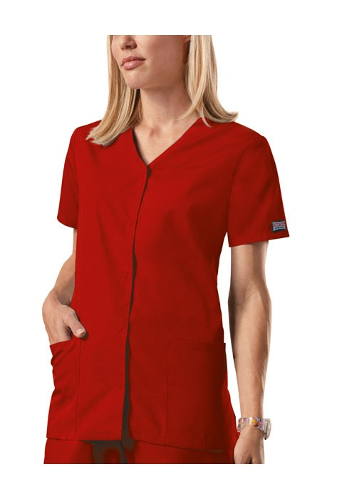 Halat medical V-Neck cu capse Rosu