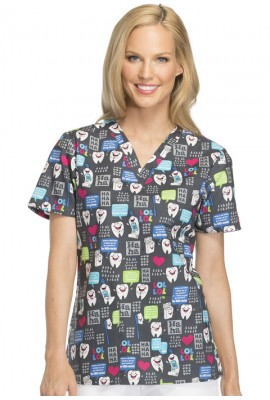 Halat medical V-Neck in Have A Laugh