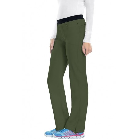 Pantaloni antimicrobieni cu talie joasa slim Olive