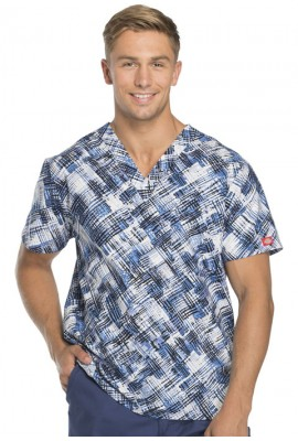 Halat medical V-Neck Breaking Plaid Royal