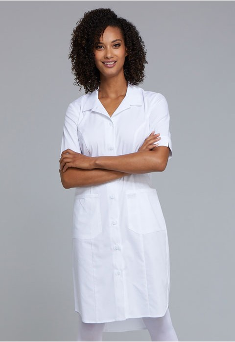 Rochie medicala cu nasturi Alba