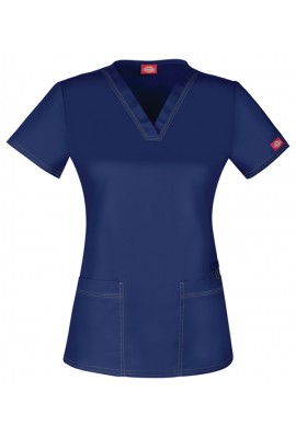 Halat medical V-Neck cambrat Navy