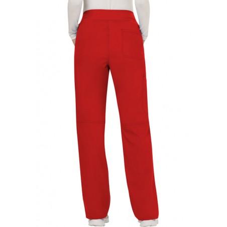 Pantaloni medicali drepti, cu talie medie Red