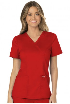 Halat medical Mock Wrap in Red