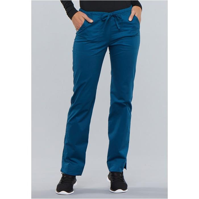 Pantaloni medicali slim cu talie medie Caribbean Blue
