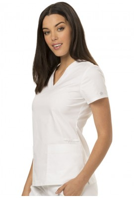 Halat medical V-Neck cambrat White
