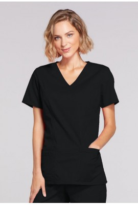 Halat medical Mock Wrap in Black