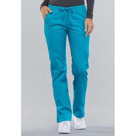 Pantaloni medicali slim cu talie medie Teal Blue