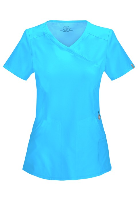 Halat medical antimicrobian Mock Wrap Turquoise