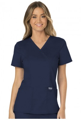 Halat medical Mock Wrap in Navy