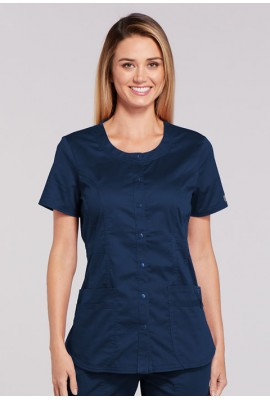 Halat medical cu capse Round Neck Navy