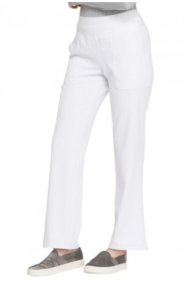 Pantaloni medicali drepti cu talie medie White