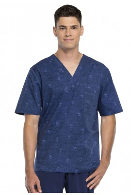 Halat medical barbatesc V-Neck in Palm Paradise