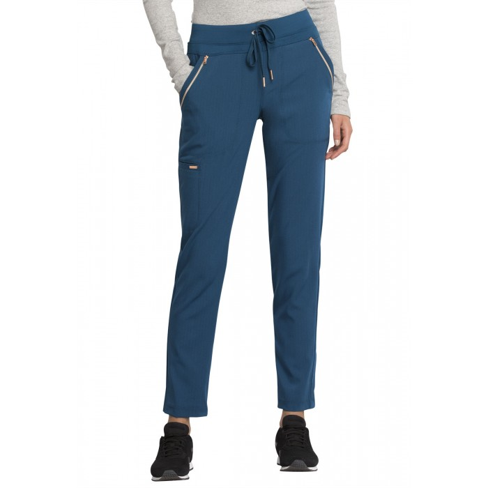 Pantaloni medicali cu talie medie Statement Caribbean Blue