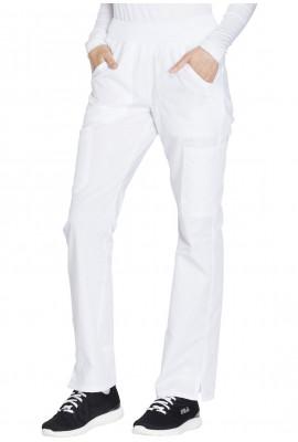 Pantaloni medicali drepti,cu talie medie si elastic lat in talie albi