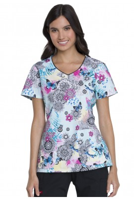 Halat medical V-Neck in Zen Butterfly Garden