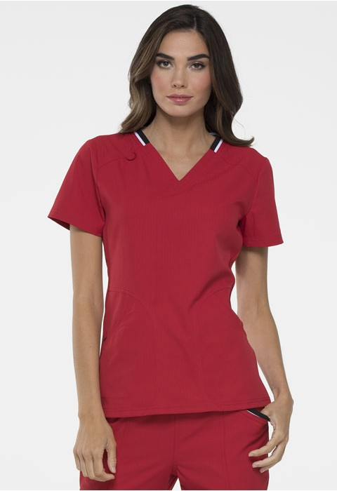 Halat medical ELLE Simply Polished V-Neck in Red