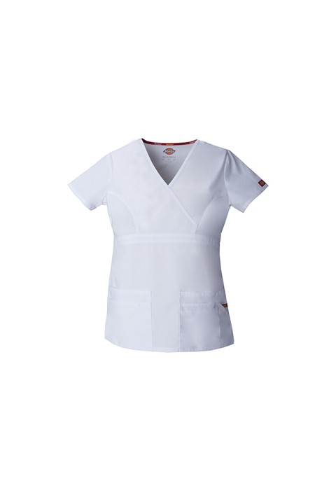 Halat medical Mock Wrap in White