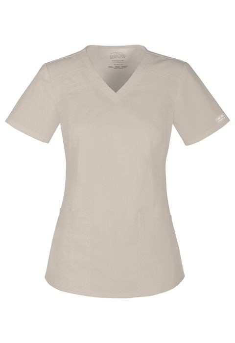 Halat medical cambrat V-Neck in Khaki