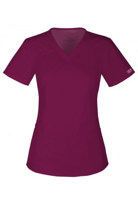 Halat medical cambrat V-Neck in WINE