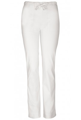 Pantaloni medicali cu talie medie albi