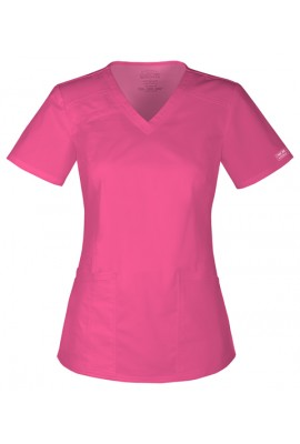 Halat medical cambrat V-Neck in Shoking Pimk