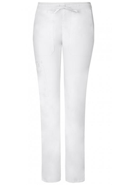 Pantaloni dama cu talie joasa slim albi