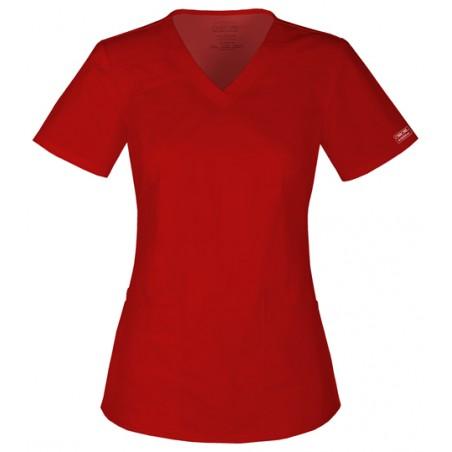 Halat medical V-Neck in Red