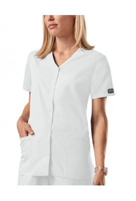 Halat medical V-Neck cu capse White