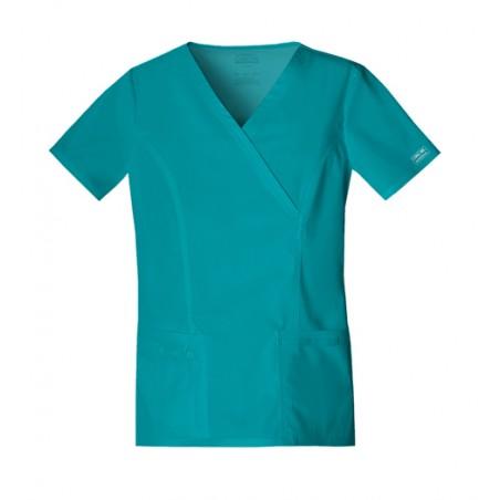 Halat medical Mock Wrap in Teal Blue