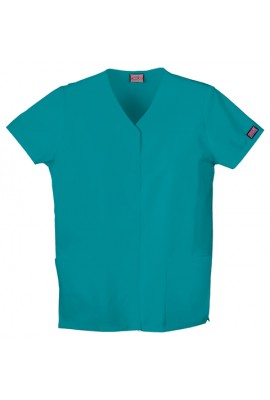 Halat medical V-Neck cu capse Teal Blue